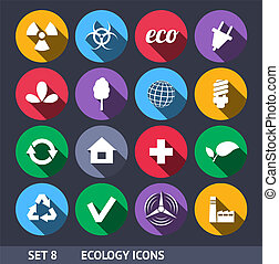 Ecology Vector Icons With Long Shadow Set 8