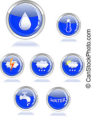 ecology waterand drop glossy icon button