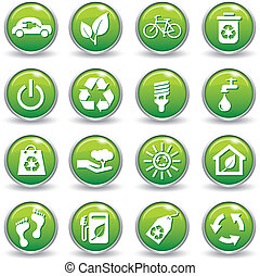 Ecology web icons green buttons