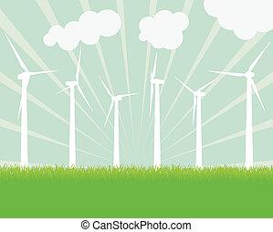 Ecology wind generator vector background landscape