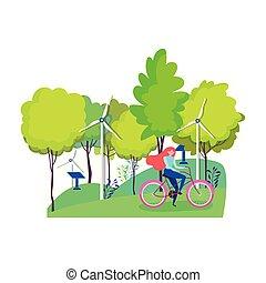 ecology woman riding bike wind turbine and solar panel park