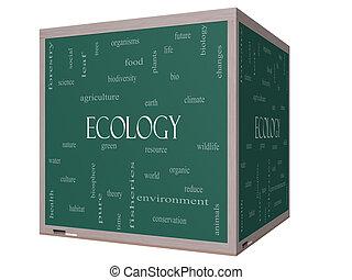 Ecology Word Cloud Concept on a 3D Blackboard