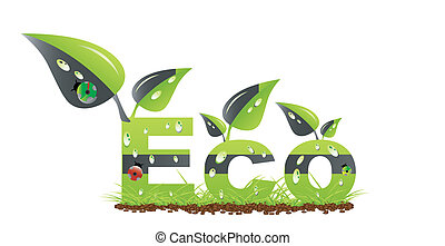 Ecology word concept - Nature green symbol. Eco word