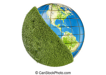 Ecology world concept, Earth globe with green grass. 3D rendering
