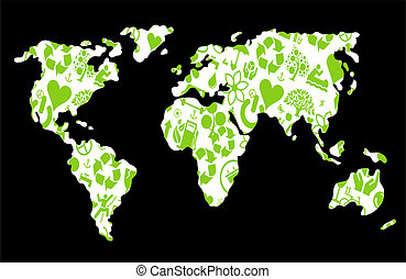 Ecology world map made of eco icons