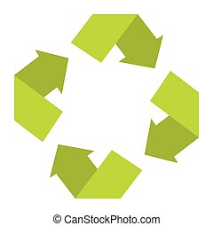 Ecologycal flat green recycle eco sign isolated on white ...
