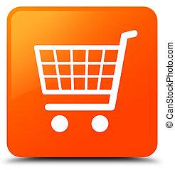 ecommerce, アイコン, オレンジ正方形, ボタン