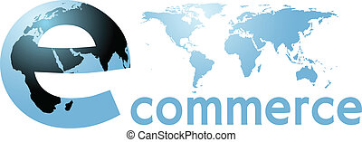 ecommerce, 全球, 地球, 網際網路, 世界, 詞