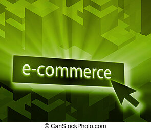 Ecommerce button, illustration clicking on web technology