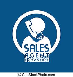 ecommerce design over  blue background. vector illustration