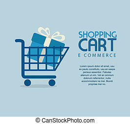 ecommerce design over  blue background. vector illustration