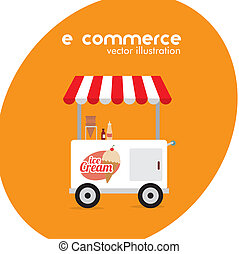 ecommerce design over orange background. vector illustration...
