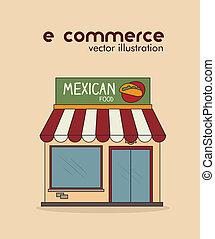 ecommerce design over  pink  background. vector illustration