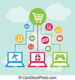 ecommerce design over sky background vector illustration