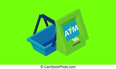 Ecommerce icon animation cartoon best object on green screen background
