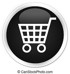 Ecommerce icon black glossy round button