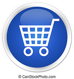 Ecommerce icon blue glossy round button