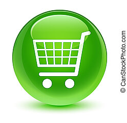 Ecommerce icon glassy green round button