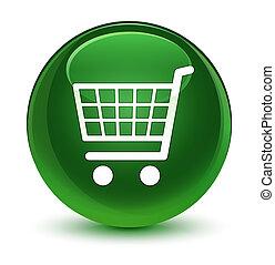 Ecommerce icon glassy soft green round button