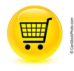 Ecommerce icon glassy yellow round button