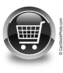 Ecommerce icon glossy black round button