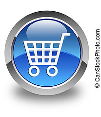 Ecommerce icon glossy blue round button