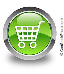 Ecommerce icon glossy green round button