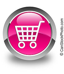 Ecommerce icon glossy pink round button