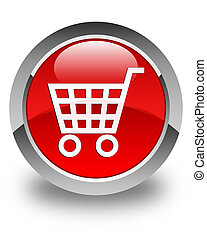 Ecommerce icon glossy red round button