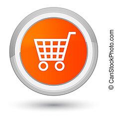Ecommerce icon prime orange round button