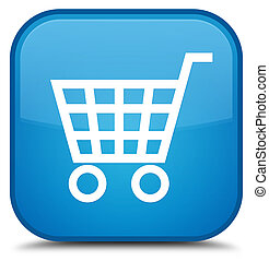 Ecommerce icon special cyan blue square button