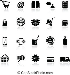 Ecommerce icons with reflect on white background
