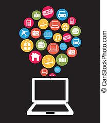 ecommerce design over black background vector illustration