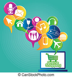ecommerce - some colored bubbles with online products and...