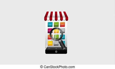 ecommerce mobile searching options media animation