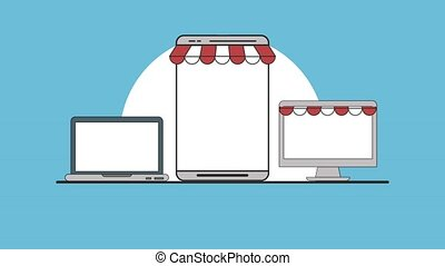 Ecommerce online shopping HD animation
