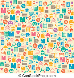 Ecommerce online shopping seamless background pattern vector...