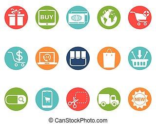 ecommerce, ronde, knoop, iconen, set