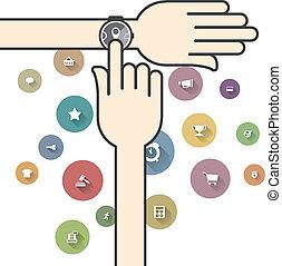 ecommerce, smartwatch, カラフルである, アイコン