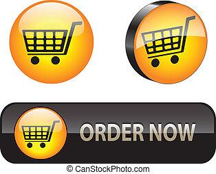 ecommerce, tela, iconsbuttons