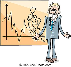 económico, crisis, ilustración, caricatura