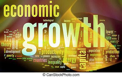 econômico, growth., coloridos, wordcloud.