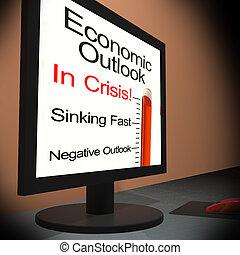 econômico, perspectiva, ligado, monitor, mostrando, financeiro prevê
