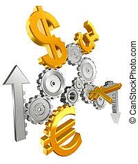 economía, dientes, moneda, arriba abajo