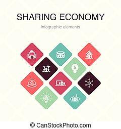 economía, iconos, compartir, coche, coworking, color,...