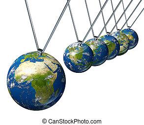 economía mundial, péndulo, con, áfrica, y, oriente medio,...