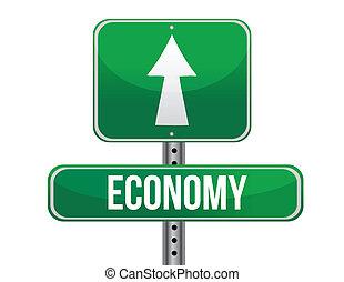 economia, desenho, estrada, ilustração, sinal
