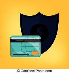 economia, e, dinheiro, relatado, ícones, imagem