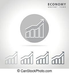 economia, esboço, ícone