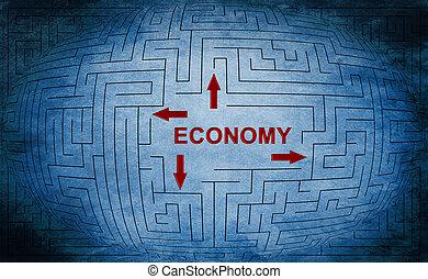 economia, labirinto, concetto